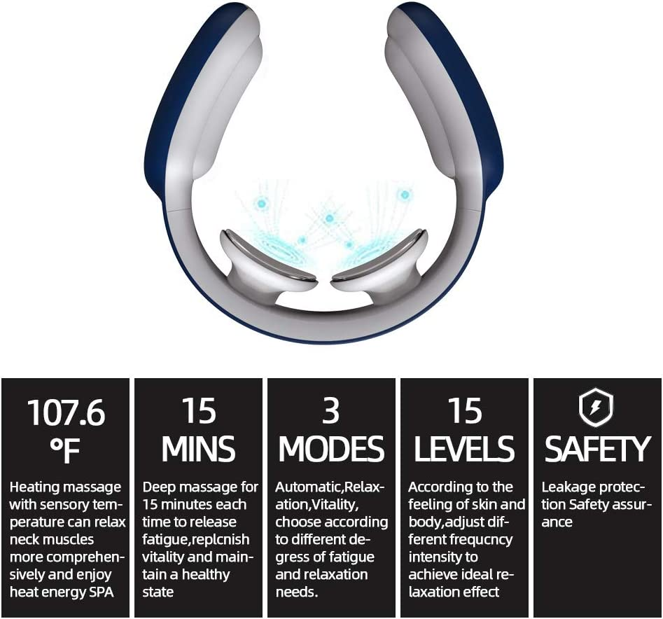 Amazon Com Neck Massager Intelligent Portable Neck Massager With Heat Cordless 3 Modes 15 Levels Smart Deep Tissue Trigger Point Massage Use At Office Car Home