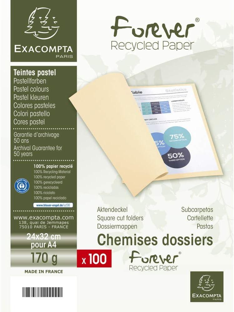 Lote de 100 Subcarpetas Forever/® 180 Color Crema Exacompta 420002E