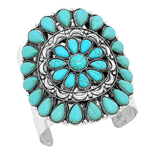 Aris Chunky Metalwork Cabochon Squash Blossom Turquoise Stone Cuff Bracelet Bundle: Bangle & Bag (Heavy Turquoise) (Turquoise Tiffany And Co)