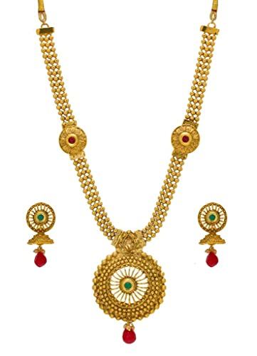 Buy bindhani gold plated red multi strand traditional bridal wedding bindhani gold plated red multi strand traditional bridal wedding necklace earrings set jewellery for women junglespirit Gallery