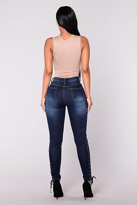 SYGoodBUY Pantalones Vaqueros Pitillo de Mujer Pantalones ...