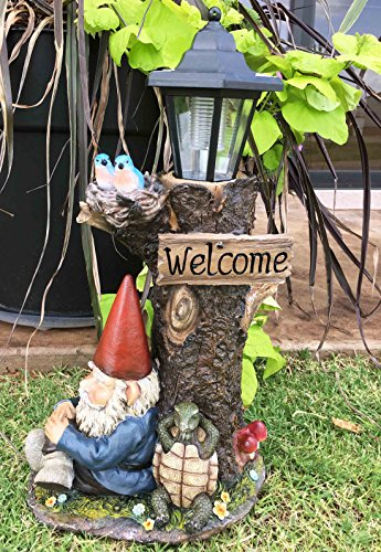 Ebros Gift Whimsical Summer Slumber Garden Gnome with Buddy Turtle Taking a Short Nap Under Tree Outpost Crossroad Station Solar Path LED Courtesy Light Garden Statue Home Decorative Patio Figurine