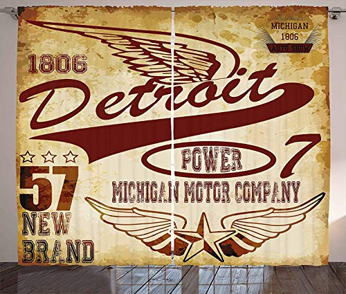 LQQBSTORAGE Detroit Curtains,Vintage Elements Michigan Company Free Wings Transport Auto Show Themed Insulating Room Darkening Blackout Drapes 2 Panel Set W120 x L108/Pair Pale Yellow Burgundy