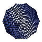 Umbrellas Compact Travel Umbrella Auto Open Close,Dark Blue,for Women Men Vinyl Anti-UV Lightweight 45 Inch,Curvy Carbon Fiber Texture Image Abstract Industrial Modern Grid