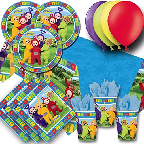 Teletubbies Balloon - Signature Balloons Teletubbies Party Pack For 8 - Plates, Cups, Napkins, Balloons And Tablecover