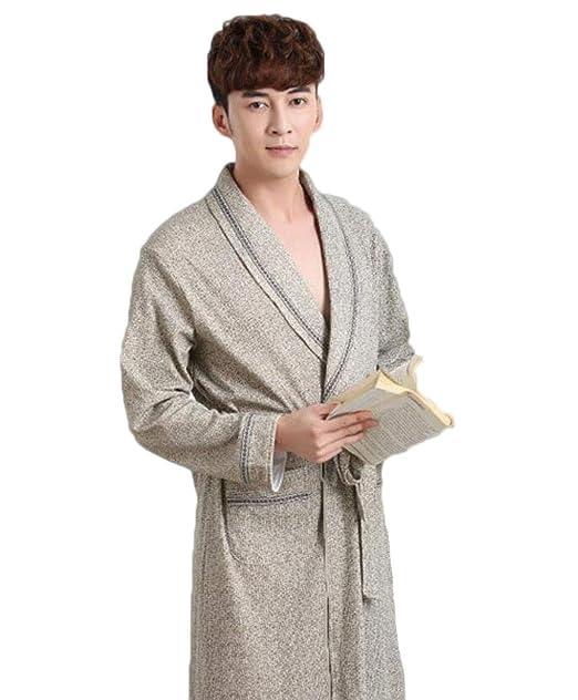 Pijama de algodón de otoño e Invierno de los Hombres en el párrafo Largo cómodo Bata