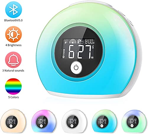 CrazyFire Wake Up Light Alarm Clock for Bedrooms,Kids Alarm Clock with Wireless Bluetooth Speaker and 5 Color Switch,3 Natural Sounds,4 Brightness,2000mAh Rechargeable Battery
