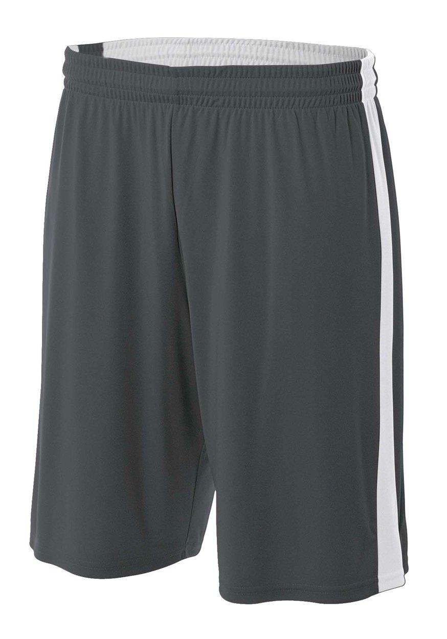 A4 NB5284-GPW Reversible Moisture Management Shorts, 8''/Large, Graphite/White by A4