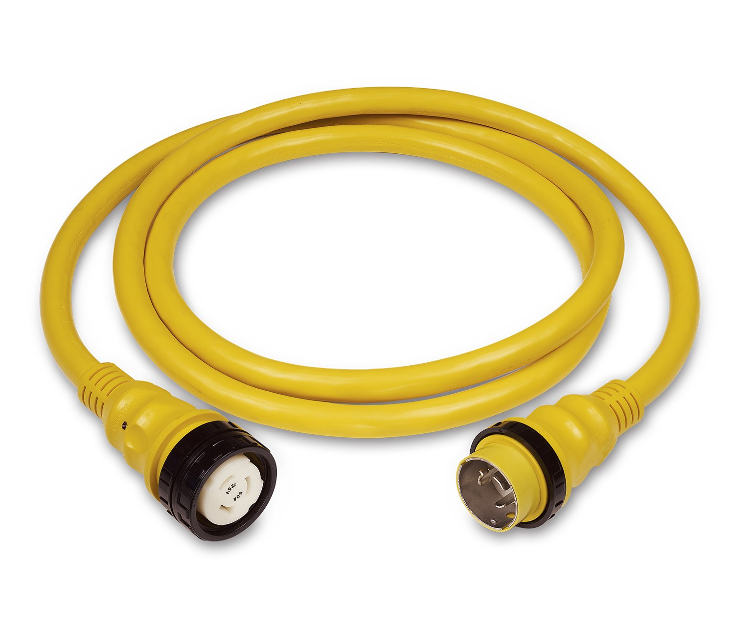 Marinco 6153SPP-25 PowerCord PLUS Marine 3-Wire Electrical Shore Power Cordset with LED Power Indicator Light (50-Amp, 125-Volt, 25-Feet, Yellow)