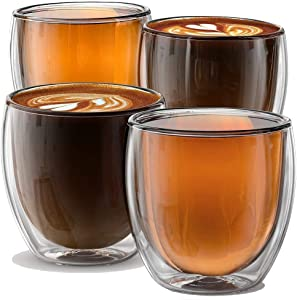 Stone & Mill Double Wall Insulated Glass Espresso Cups Set of 4, Glasses for Coffee, Latte, Lungo, or Americano, Milano Collection AM-01, 8.5 Ounce
