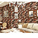 WitHome Fake Brick Wallpaper, Faux Smooth Rust Tuscan Mix Red Brick Wall Faux Red Brick Stone Textured Wallpaper Roll Mix Red Multi, 3D Brick Blocks Room Decoration 32.8ft x 1.73ft(Red Mix)