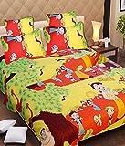Singhs Villas Decor 3D Multicolor Cartoon Print Kids Double bedsheet With 2 Pillow Cover