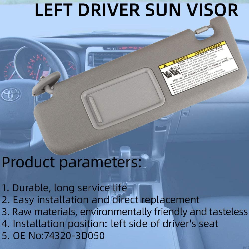 Dasbecan Sun Visor Sunvisor Left Driver Side Replace for Toyota 4Runner 2004-2008 74320-3D050 74320-3D050-B0