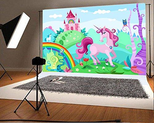 Laeacco 10x6.5ft Vinyl Backdrop Cartoon Wonderful Unicorn Photography Background Cute Fairytale Princess Castle Magical Garden World Rainbo Child Birthday Party Photo Shoot Portrait Studio Prop