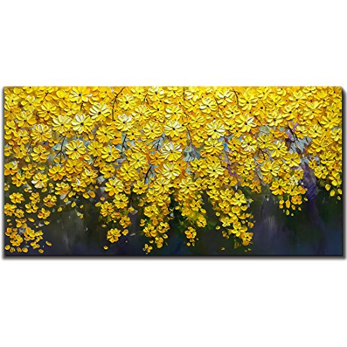 V-inspire Art, 24X48 Inch Oil Paintings On Canvas Wall Art Brilliant Flowers Art 100% Hand-Painted Abstract Artwork Yellow Floral Wall Art livingroom Bedroom Dinning Room Decorative Pictures Home Deco