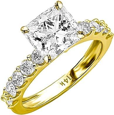 4.00 Ct Round Princess Diamond Engagement Ring Wedding set Sterling White Gold