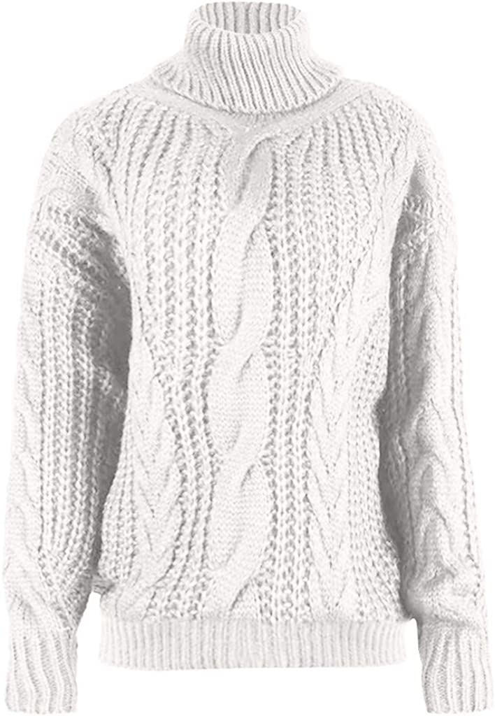 Celucke Womens Casual Turtleneck Pullover Sweater Long Sleeve Solid Loose Knitted Tops Sweatshirt Outwear