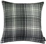 McAlister Angus Farmhouse Plaid 28″ Decor Pillow Cover | Gray Black White 28×28 Euro Sham Case | Heavy Linen Woven Texture | Striped Primitive Rustic Cabin Accent For Sale