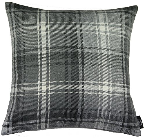 McAlister Angus Farmhouse Plaid 28″ Decor Pillow Cover | Gray Black White 28×28 Euro Sham Case | Heavy Linen Woven Texture | Striped Primitive Rustic Cabin Accent For Sale