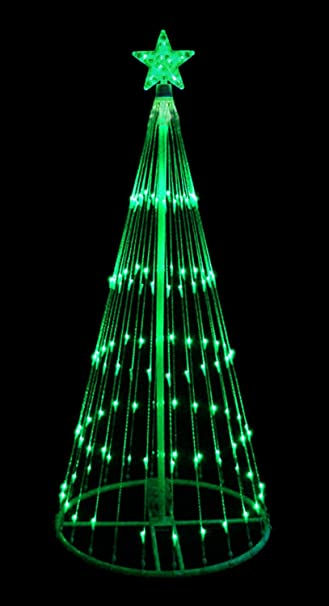 4 green led light show cone christmas tree lighted yard art decoration - Outdoor Lighted Christmas Decorations
