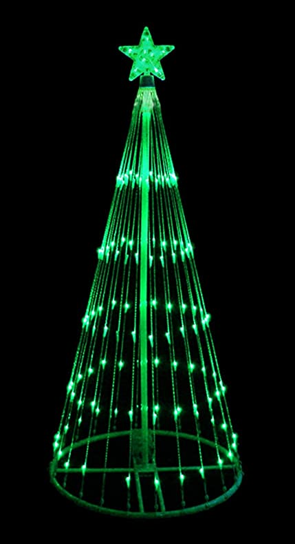4 green led light show cone christmas tree lighted yard art decoration - Outdoor Led Christmas Tree