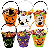 Alapaste Halloween Trick Or Treat Bags Party Favor Tote Gift Bags with Handle Portable Felt Goodie Treat Bags for Kids,Children,Halloween Party Supplies (6 Packs)