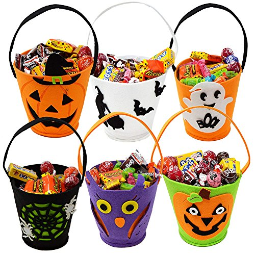 ADSRO 6Pack Halloween Trick or Treat Bag, Felt Candy Bag Halloween Candy Bucket Tote Child Gift Bag Girl Boy Spider Pumpkin Bag -