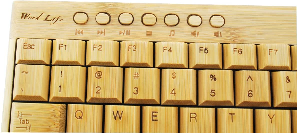 BESTN Handmade Natural 2.4g Wireless Bamboo Wooden Keyboard Mouse for PC Laptop Multi-Media 1 Pair
