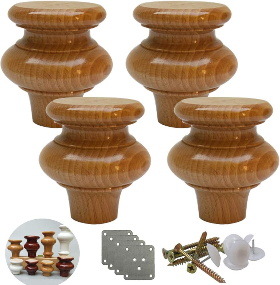 XHCP Solid Wood Furniture Legs,Gourd Shape Kitchen Furniture Feet,Replacement Coffee Table Legs,Wooden Sofa Feet,for Dresser Cabinet Couch Chair Loveseat,Pack of 4(Wood color6cm/2.4in)