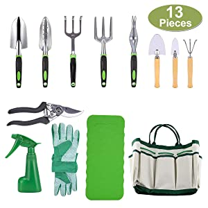 CRENOVA 10 Piece Garden Tools Set-Gardening Tools,Pruning Shears,Garden Gloves,Garden Tote,Kneeling Pad and Garden Sprayer.Add 3 Free Piece Mini Gardening Tool Set.Best Gift for Women and Men.