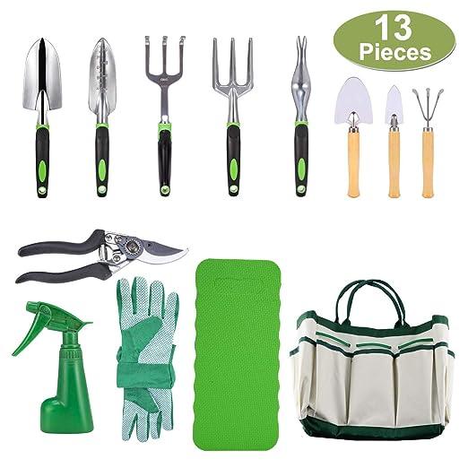 Crenova 10-teiliges Gartenwerkzeug-Set - Gartengeräte, Gartenschere, Gartenhandschuhe, Gartentasche, kniendes Pad und Garten-