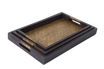 Hecho a mano madera servir Tray- elegante rectangular Bandeja de bambú decoración del hogar grande