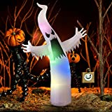 YUNLIGHTS 6ft Halloween Inflatable Ghost Portable Terrible Lanterns Indoor/Outdoor Yard Garden Decoration with LED Lights Includes Stakes and Tethers