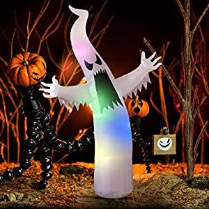 YUNLIGHTS 6 Foot Halloween Inflatable Ghost, Air Blown Ghost with Colorful LED Lights for Outdoor and Indoor Decoration, Lighted Halloween Deco for Yard/Patio/Garden