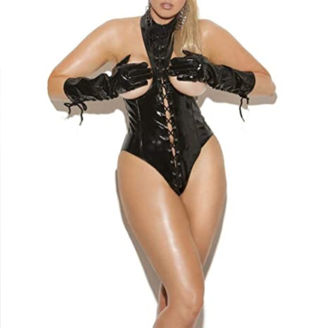 e02c268408 Amazon.com  SFHK Women Lingerie Faux Leather Bodysuit Open Cup Out Lace Up  Wetlook Underwear Black