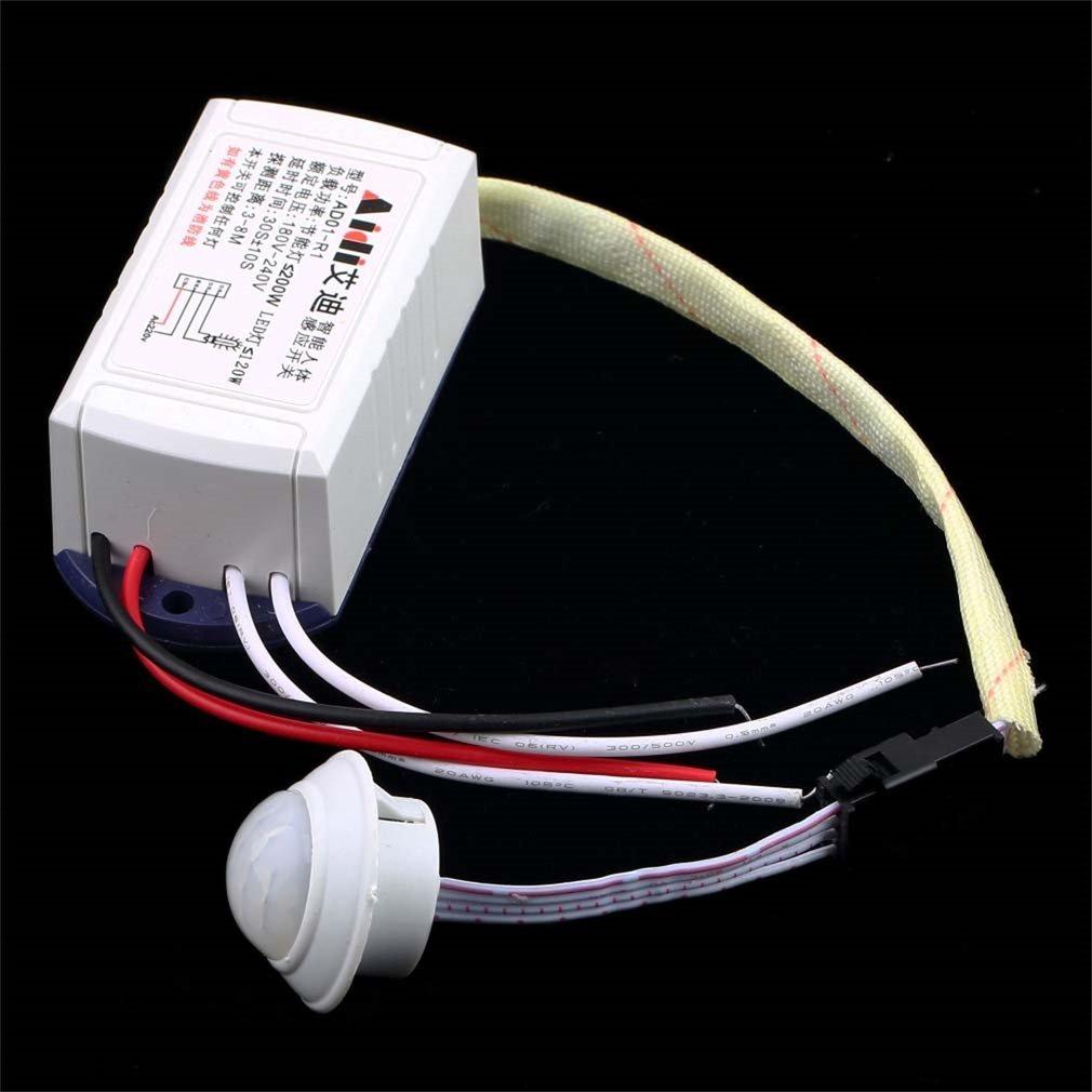 Sensor cuerpo del m/ódulo de infrarrojos IR Leoboone inteligente luz con sensor de movimiento el interruptor interruptor del sensor del cuerpo de la alta calidad 200W 220V blanca