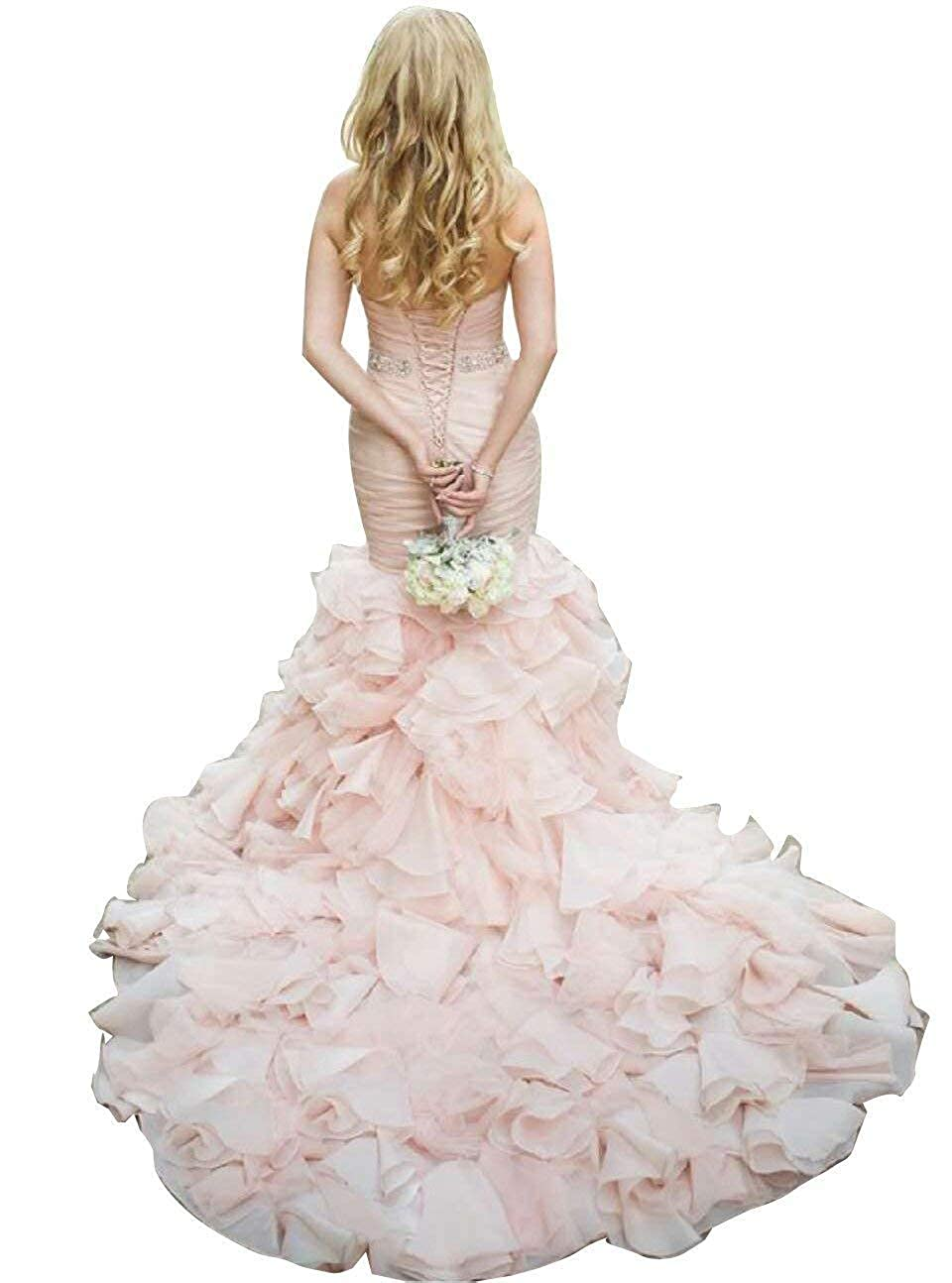 bluesh RYANTH Womens Mermaid Wedding Dresses Ruffles Beaded Sweetheart Bridal Gown with Train R39