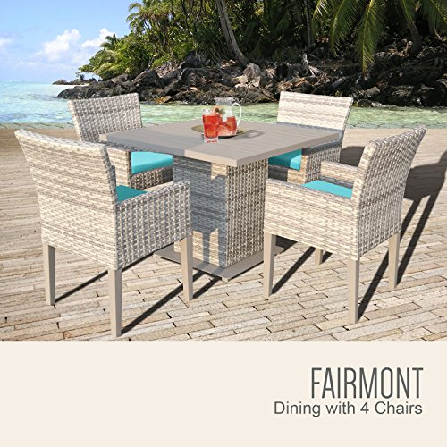TK Classics FAIRMONT-SQUARE-KIT-4DCC-ARUBA Fairmont Square Dining Table with 4 Chairs with 2 Covers: Beige and (Fairmont Dining Set)