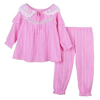 bae069d14040a パジャマ 女の子 レース ガールズ 上下セット 半袖 長袖 綿100% ルームウェア 部屋着 ナイト