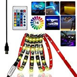Room Furniture iCrius TV Backlight, 16 Color RGB Bias Lighting Led Light Strip With Remote Can Extend USB Powered Led Lighting Tape for TV Computer DIY Bicycle Car Room Party Furniture Cabinet Background