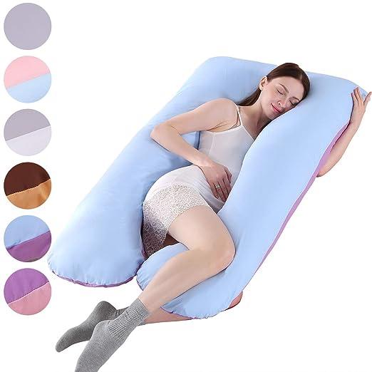 Almohada de embarazo, incluye funda de almohada de algodón, almohadas de maternidad para mujeres embarazadas con forma de U, funda de almohada ...