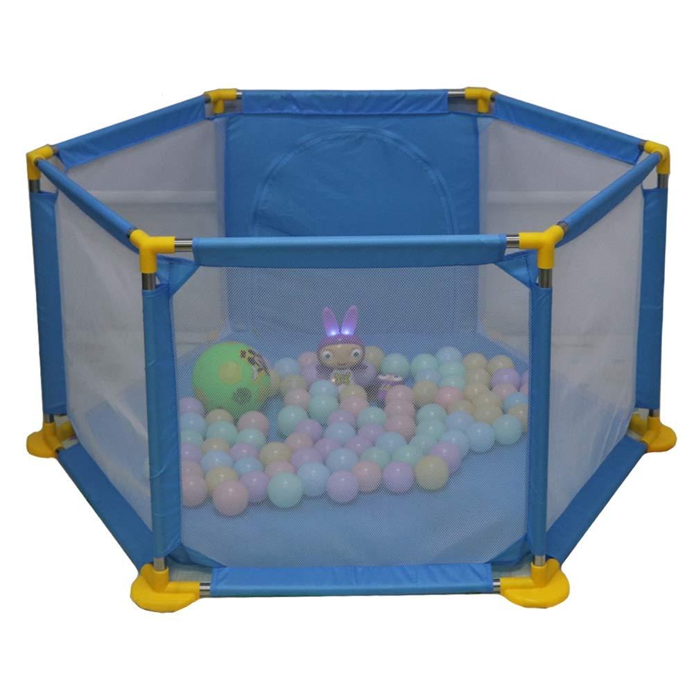 【ふるさと割】 ベビーサークル, ポータブルプラスチック製の赤ちゃんの遊び場、幼児、屋内/屋外キッズのゲームフェンス - 66cmの高さのためのアンチロールオーバー6パネルプレイヤード : (サイズ さいず さいず B07J56148D : 青) 青 B07J56148D, 浅科村:c163f335 --- senas.4x4.lt