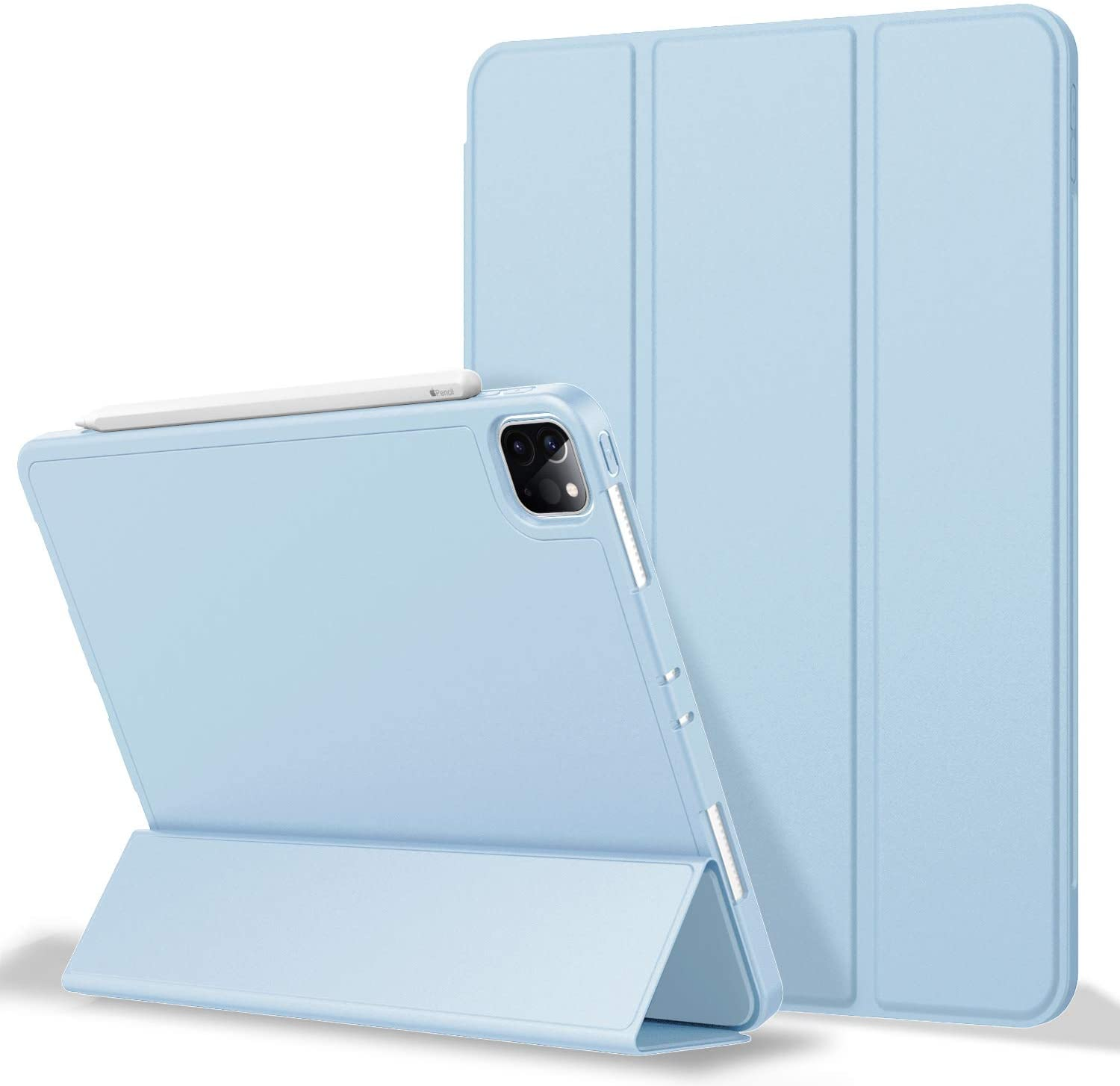 iPad Pro 11 Case 2020 with Pencil Holder (2nd Generation), ZryXal Premium Protective Case Cover with Soft TPU Back and Auto Sleep/Wake Feature for 2020/2018 iPad Pro 11 (Sky Blue)