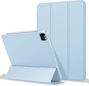ZryXal iPad Pro 12.9 Case 2020 with Pencil Holder (4th Generation), Premium Protective Case Cover with Soft TPU Back and Auto Sleep/Wake Feature for 2020/2018 iPad Pro 12.9 (Sky Blue)