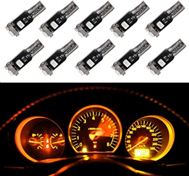 10pcs Lamp with 10pcs Twist Lock Socket WLJH Yellow Amber Canbus Extremely Bright PC74 T5 2721 73 74 Led Bulb Automotive Car Instrument Cluster Gauge Dash Dashboard Indicator Panel Light