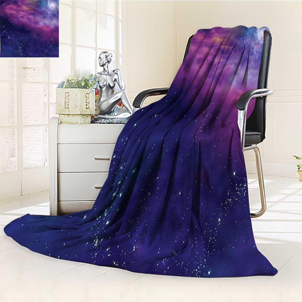YOYI-HOME Luxury Warm Fuzzy Weighted Bed Duplex Printed Blanket Dim Star Clusters Milky Circle Back with Solar System Elements Purple Blue Camping Blanket /W79 x H47