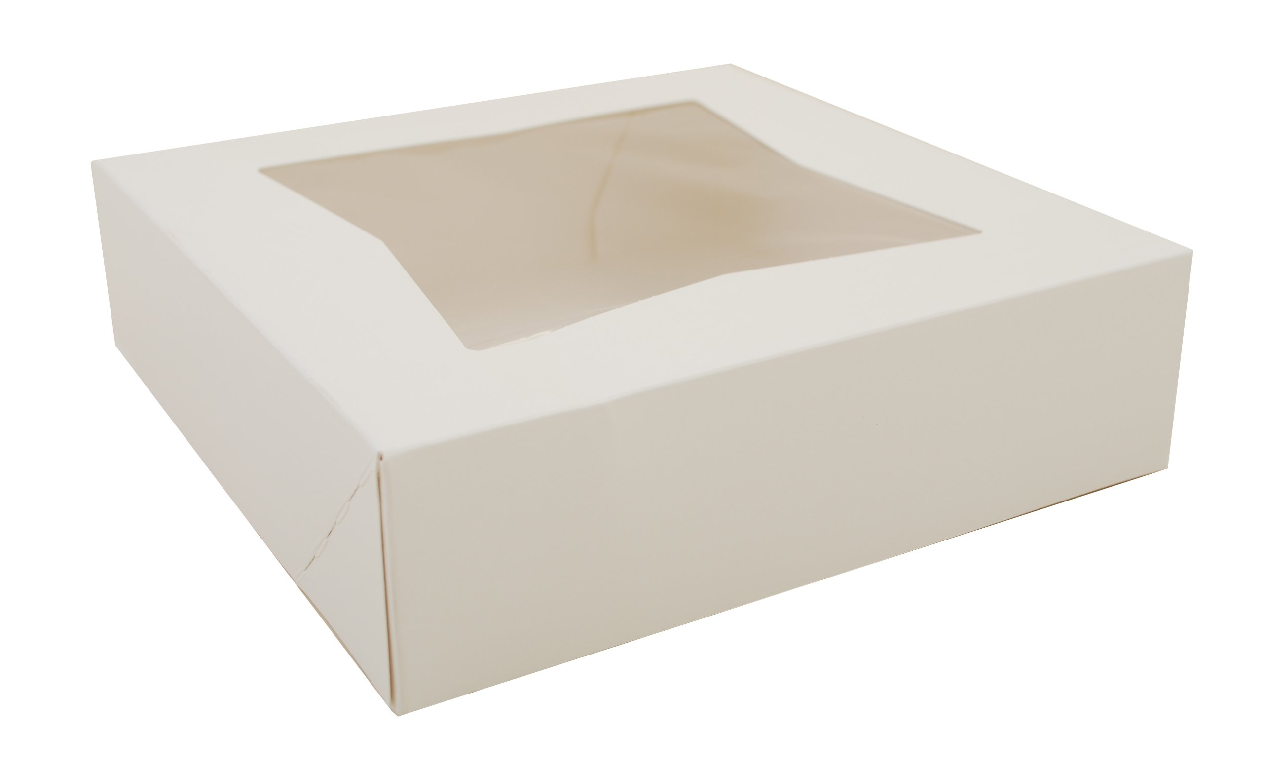 Southern Champion Tray 24133 White Paperboard Window Bakery Box, 9'' Length x 9'' Width x 2-1/2'' Height (Case of 200)