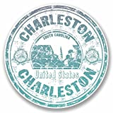 2 x 20cm/200mm Charleston South Carolina USA Vinyl SELF ADHESIVE STICKER Decal Laptop Car Travel Luggage Label Tag #9710