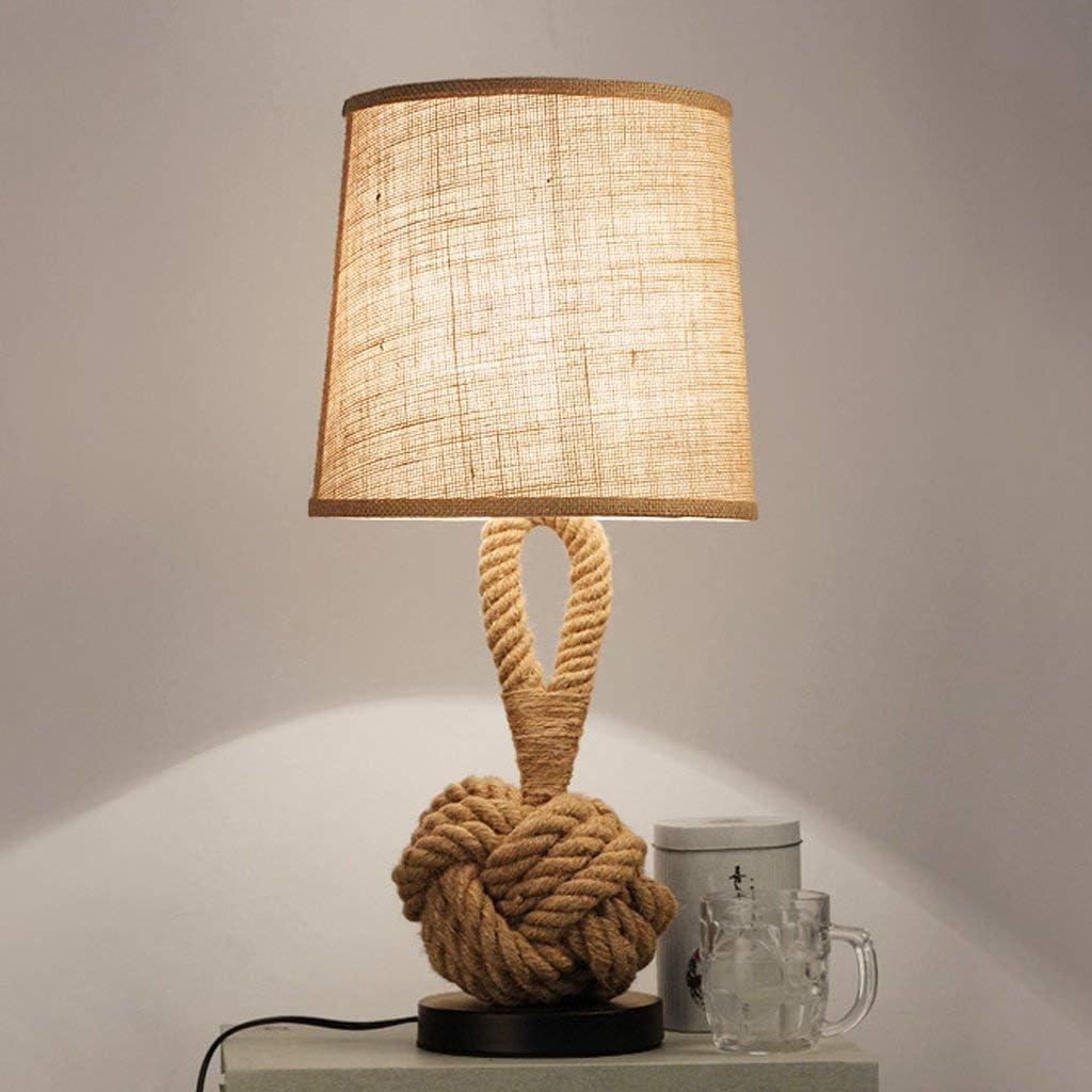 E27 rétro lampe de table linge artisanat abat-jour créatif chambre table de chevet AC110-240V salon étude petite lampe de table