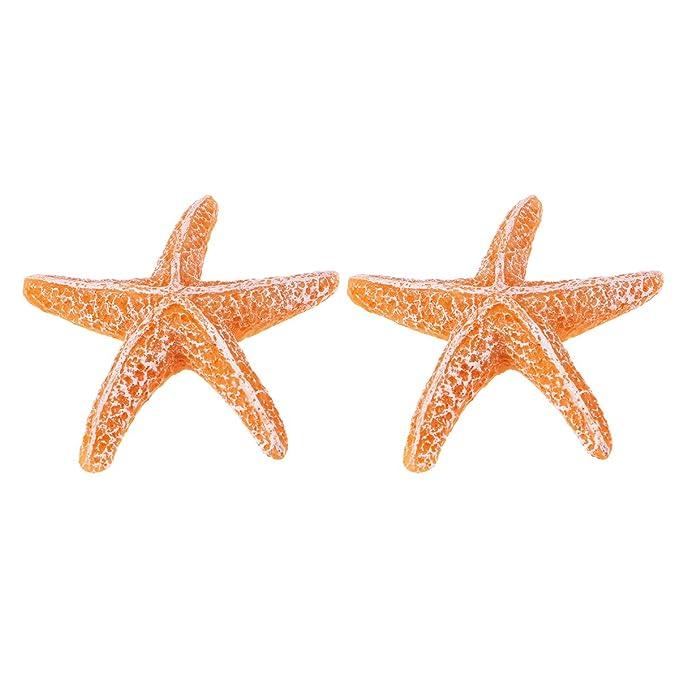 UEETEK 2 piezas estrella de mar acuario estrella de mar resina artificial para la decoración del tanque de peces de acuario (naranja + azul): Amazon.es: ...